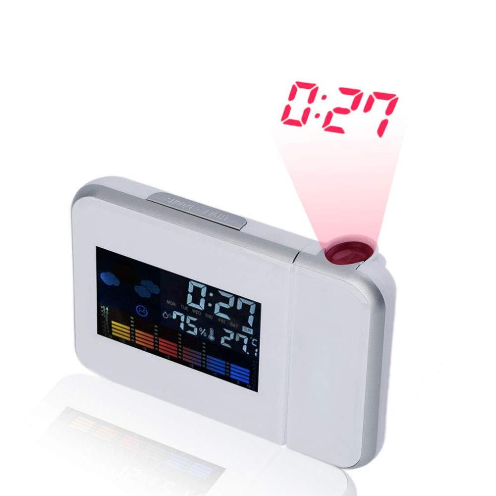 GJH Retroiluminación LED Digital Reloj Despertador, Sobremesa LCD De Escritorio Reloj De Pronóstico del Tiempo Multifunción Perpetuo Calendario Estación ...