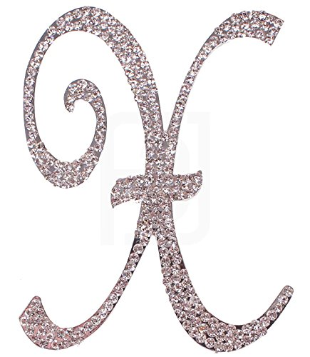 Letter X, Initials, Happy Birthday Cake Topper, Wedding, Anniversary, Vow Renewal, Crystal Rhinestones on Silver Metal, Party Decorations, Favors