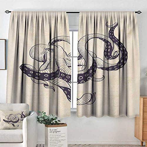 Mozenou Octopus Blackout Window Curtain Hand Drawn Style Animal Illustration with Grunge Effect and Antique Style Waterproof Window Curtain 72