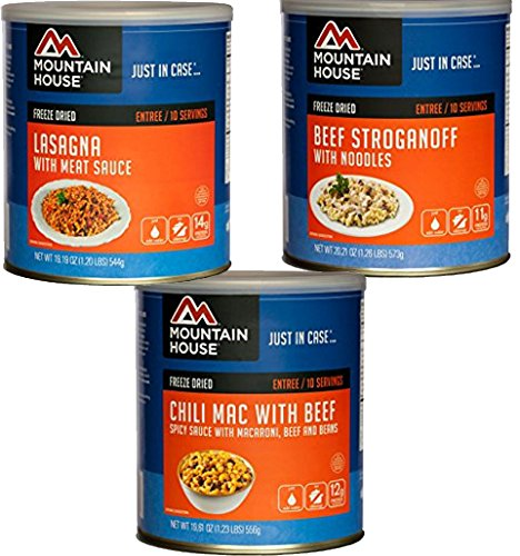 Bundle Includes 3 Items - Mountain House Beef Stroganoff with Noodles #10 Can and Mountain House Lasagna with Meat Sauce #10 Can and Mountain House Chili Mac with Beef #10 Can by Mountain House and Mountain House and Mountain House