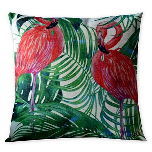 [Summer Style Flamingo and flower Cotton Linen Pillowcase American Luxury Cushion Decorative Pillows Home Décor Sofa Throw Pillow Cover Lover Gift Almofada] (Flamingo Throw)