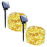 Outdoor Solar String Lights, 2 Pack 33FT 100 LED Solar Fairy Lights Waterproof Decoration Copper Wire Lights with 8 Modes for Patio Yard Trees Christmas Wedding Party Decor (Warm White) Larger Image