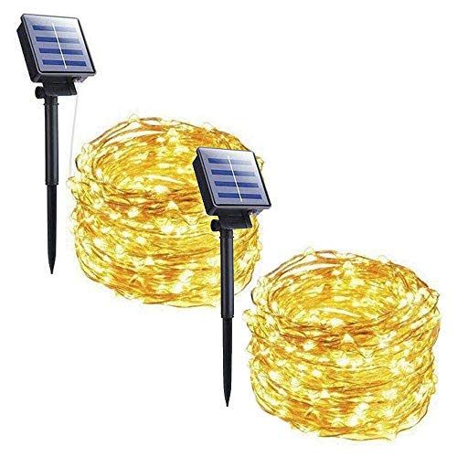 Outdoor Solar String Lights, 2 Pack 33FT 100 LED Solar Fairy Lights Waterproof Decoration Copper Wire Lights with 8 Modes for Patio Yard Trees Christmas Wedding Party Decor (Warm White) (String Plus Cost Lights)