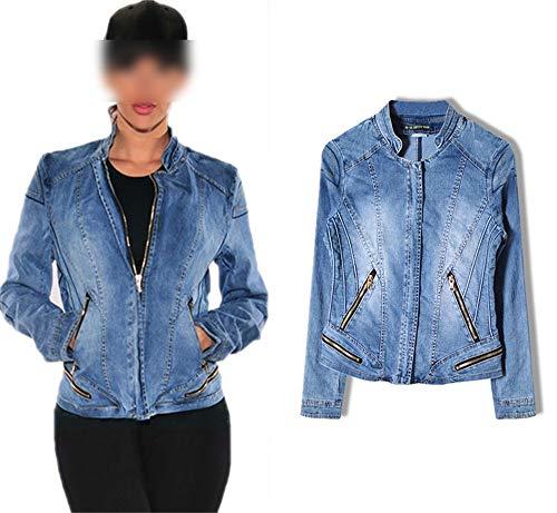NIUAIwai Stand Collar Women Baseball Jackets Stretch Denim Jacket Multi-Zipper Short Female Coat,Blue,XS