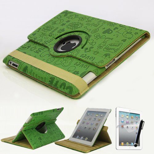 Mecasy_iPad 4 4G 3 2 360 Rotating Swirl Rotational Embossed Cute Cartoon Leather Case Smart Cover Green USA Seller