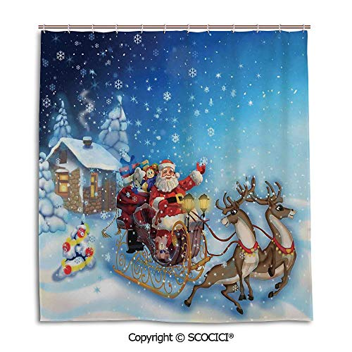 Creative Bathroom Curtain Separation Door Curtain bath curtain,66X72in,Christmas Decorations,Santa in Sleigh with Reindeer and Toys in Snowy North Pole Tale Image,Navy Blue,Used for bathing privacy