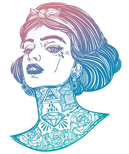 Sexy Gangster Snow White with Tattoos - Pink Blue Ombre Vinyl Decal Sticker (12