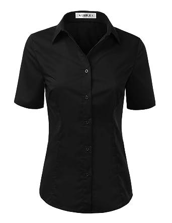 41d70147f7b Doublju Womens Slim Fit Plain Classic Short Sleeve Button Down Collar Shirt  Blouse Black X-