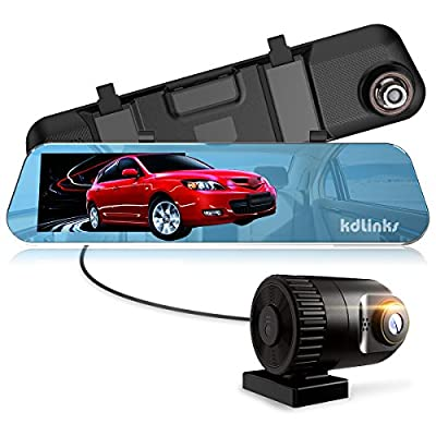 "KDLINKS R100 Ultra HD 1296P Front + 1080P Rear 280° Wide Angle Anti-Glare Rearview Mirror Dual Lens Dash Cam with IPS 5"" Screen, Superior Night Mode, Advanced Dashcam Parking Mode, Support 64/128GB"