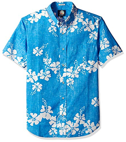 Reyn Spooner Men's 50th State Flower Spooner Kloth Tailored Fit Hawaiian Shirt, Sky, XL