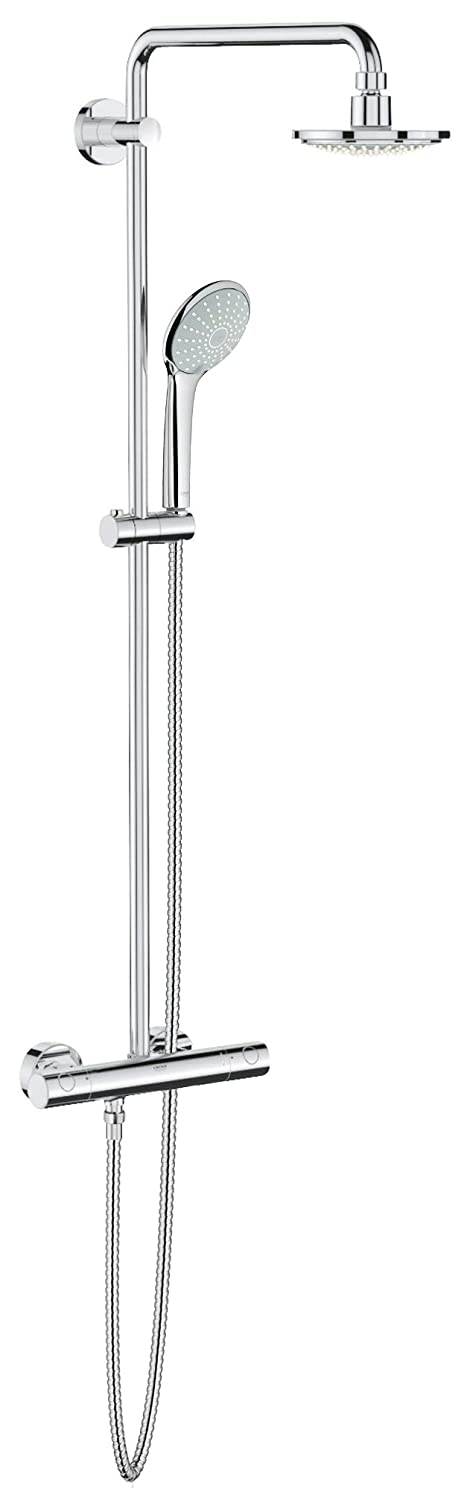 Grohe 26128000 Euphoria 2.5 Gpm 1-Spray Shower System with Thermostat for Wall Mount, 1, Starlight Chrome