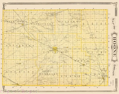 Old County Maps - BOONE COUNTY INDIANA (IN) MAP 1876 - Matte (1876 Indiana Map)