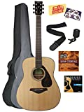 Yamaha FG800 Acoustic Guitar Bundle with Gig Bag, Instructional DVD, Tuner, Strap, Strings, Picks, and Polishing Cloth - Natural