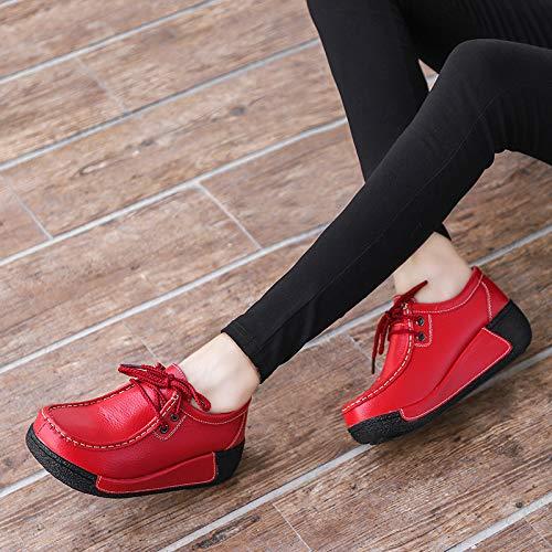 Color EU Zapatos Cordones Cuero para 39 de de con Qiusa Plataforma Mujeres Negro Rojo tamaño zgwTqR7