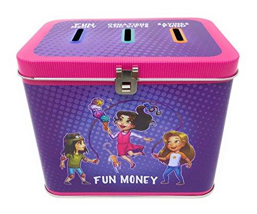 Pioneer Plus - 3 Slot Savings Bank - Savings - Fun Money and More (Girl) - Kid Bank