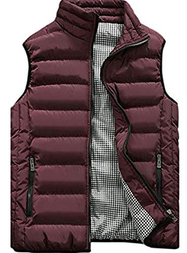 XinYangNi Men's Outdoor Casual Classic Quilted Vest Wine Red US L/Asia 4XL