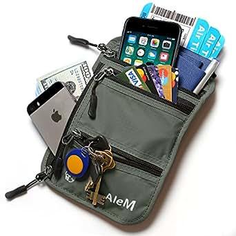 Travel Neck Wallet & Passport Holder - Hidden Anti Theft RFID Blocking Pouch (Ash)