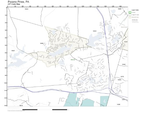 ZIP Code Wall Map of Pocono Pines, PA ZIP Code Map Laminated