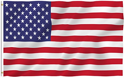 Anley |Fly Breeze| 3x5 Foot American US Polyester Flag - Vivid Color and UV Fade Resistant - Canvas Header and Double Stitched - USA Flags with Brass Grommets 3 X 5 Ft