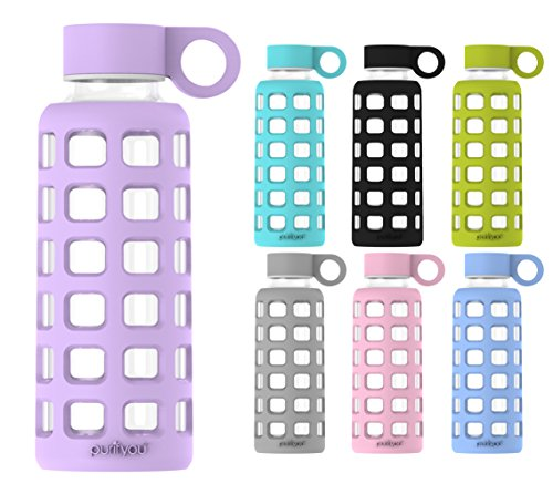 purifyou Premium Glass Water Bottle with Silicone Sleeve & Stainless Steel Lid Insert, 12 / 22 / 32 oz (Lavender, 12 oz)