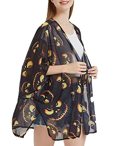 DREAGAL Women's Halloween Pumkin Printed Sheer Loose Kimono Cardigan Tops Blouse Cover up M -