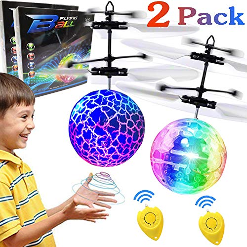 10 Halloween Games (2 Pack Hand Operated Flying Ball for 6, 7, 8, 9, 10, 11, 12,13,14 Year Old Boys Girls Kids Holiday Christmas Birthday Gifts LED Light Indoor Outdoor Kids Games Flying)
