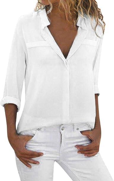 Chaqueta Mujer, Camisa Blanca Blusa de Manga Larga para Mujer Camisa Casual de Las señoras Camisa de Trabajo de Oficina con Cuello en V: Amazon.es: Ropa y accesorios