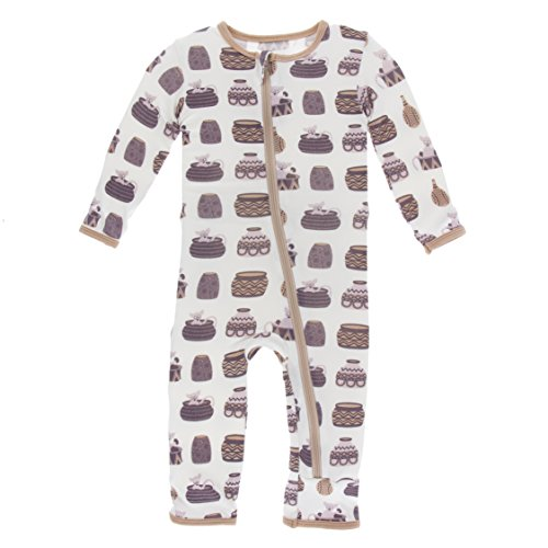 Kickee Pants Little Girls Print Coverall with Zipper - Natural Bush Baby, 5 Years ()