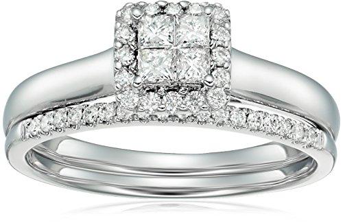 - 10k white gold diamond quad halo bridal wedding ring set (1/2cttw, i color, i2 clarity), size 8