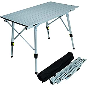 Adjustable aluminium lightweight slatted folding table portable camping sports - Lightweight camping tables ...