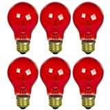 Sunlite 25A/TB/R/6PK Incandescent Red A19 25W Light Bulbs with Medium E26 Base (6 Pack)