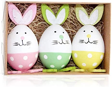 Decorative Hanging Easter Eggs for DIY Crafts and Assorted Easter Decorations Vintage Style Paper Mache 12 Pack Foam Easter Bunny Egg Ornaments Home Decorations
