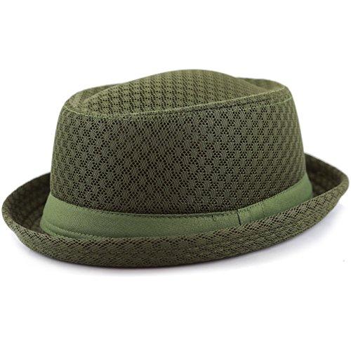 The Hat Depot Light Weight Classic Soft Cool Mesh Porkpie hat (L/XL, (Fedora Hat Green)