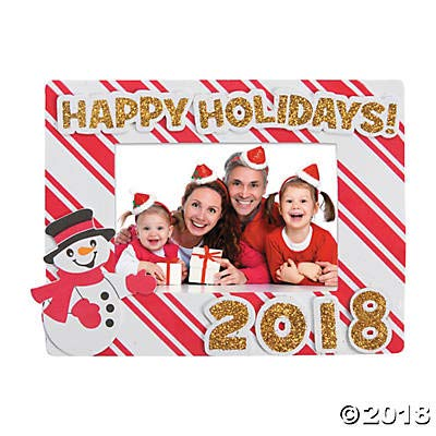 (12 Kits) Dated Happy Holidays Picture Frame Magnet Craft Kit