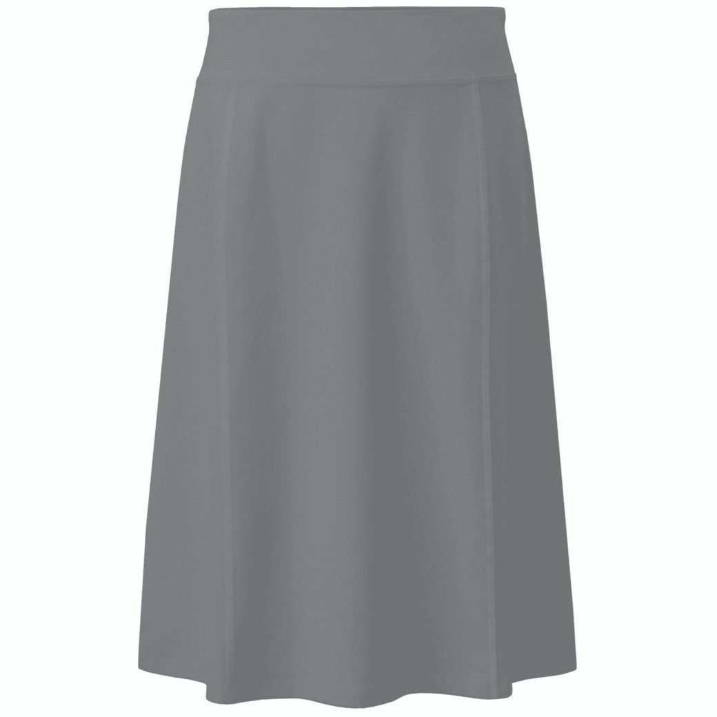 Baby'O Girl's (Children's) Stretch Cotton Knit Panel Below The Knee A-Line Skirt (Small, Gray)