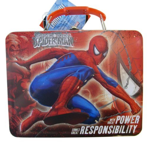 (Marvel Great Power Great Responsibility Carry All Spiderman Lunchbox - Spiderman Tinbox)