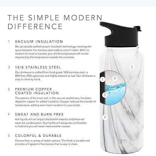 a58f0ee728 ... Simple Modern 32oz Summit Water Bottle Stainless Steel Tumbler Metal  Flask +2 Lids - Wide ...