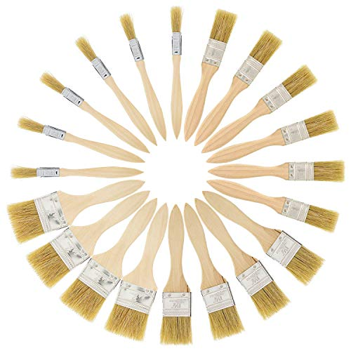 US Art Supply 20 Pack of Assorted Size Paint and Chip Paint Brushes for Paint, Stains, Varnishes, Glues, and Gesso ()
