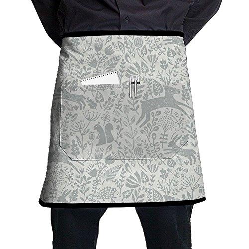 Kjiurhfyheuij Half Short Aprons Deer Art Style Waist Apron With Pockets Kitchen Restaurant For Women Men Server -