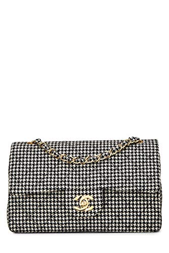 CHANEL Black & White Houndstooth Woven Classic Double Flap Small (Pre-Owned)
