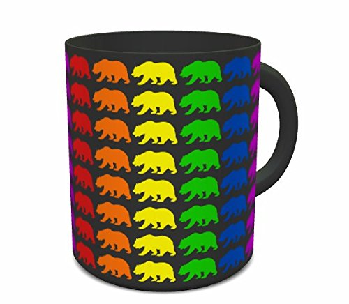 Gay Pride Mug - Rainbow Flag Bears - Coffee Cup For LGBT Marriage Rights & Equality - Gift Accessories For Lesbian, Bisexual, Transexual / Trans, Queer, Intersex, Asexual & Pansexual Couples (Black) (Adult Movies Xx Rated For Women)