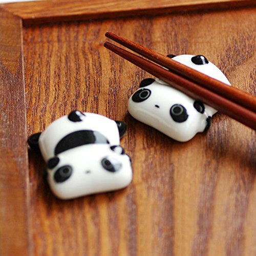 Shape Paperweight Acrylic (Fivtyily 2 PCS Lovely Cartoon Calligraphy and Sumi Brush Rest Ceramics Paperweight (Panda shape))