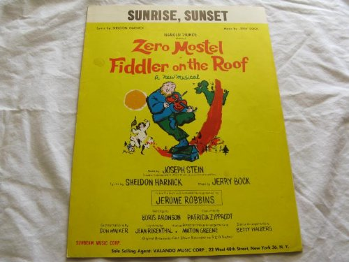 SUNRISE SUNSET HAROLD PRINCE 1964 SHEET MUSIC FOLDER 447 SHEET MUSIC