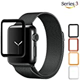 Josi Minea Apple Watch [ 42mm ] 3D Tempered Glass Screen Protector with Edge to Edge Coverage Anti-Scratch Ballistic LCD Cover Premium HD Shield Guard for Apple Watch Series 3-42mm [ Black ]