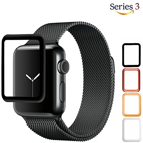 ch [42mm] 3D Tempered Glass Screen Protector with Edge to Edge Coverage Anti-Scratch Ballistic LCD Cover Premium HD Shield Guard for Apple Watch Series 3 - 42mm [ Black ] (Premium Lcd Screen Protector)