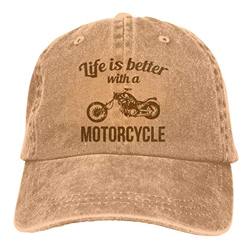 Headgear Denim Cap (OPQRSTQ-O Life is Better with A Motorcycle Travel Outdoor Jean Cloth Headgear)
