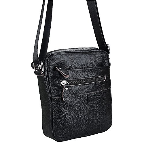 Hibate Leather Shoulder Satchel Small Bag Crossbody Messenger Bags Men's Black r5qtxnfr