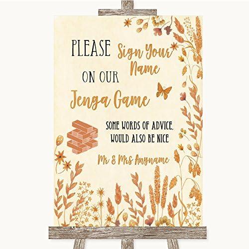 Letrero de boda con diseño de hojas de otoño y jenga, de la colección Otoño Framed Oak Small: Amazon.es: Oficina y papelería