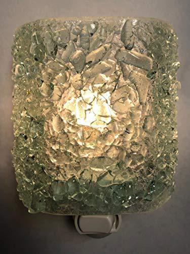 (ICE CRYSTAL Recycled Bottle Glass Artistic Handmade Fused Sparkling Night Light Nightlight Nitelite)