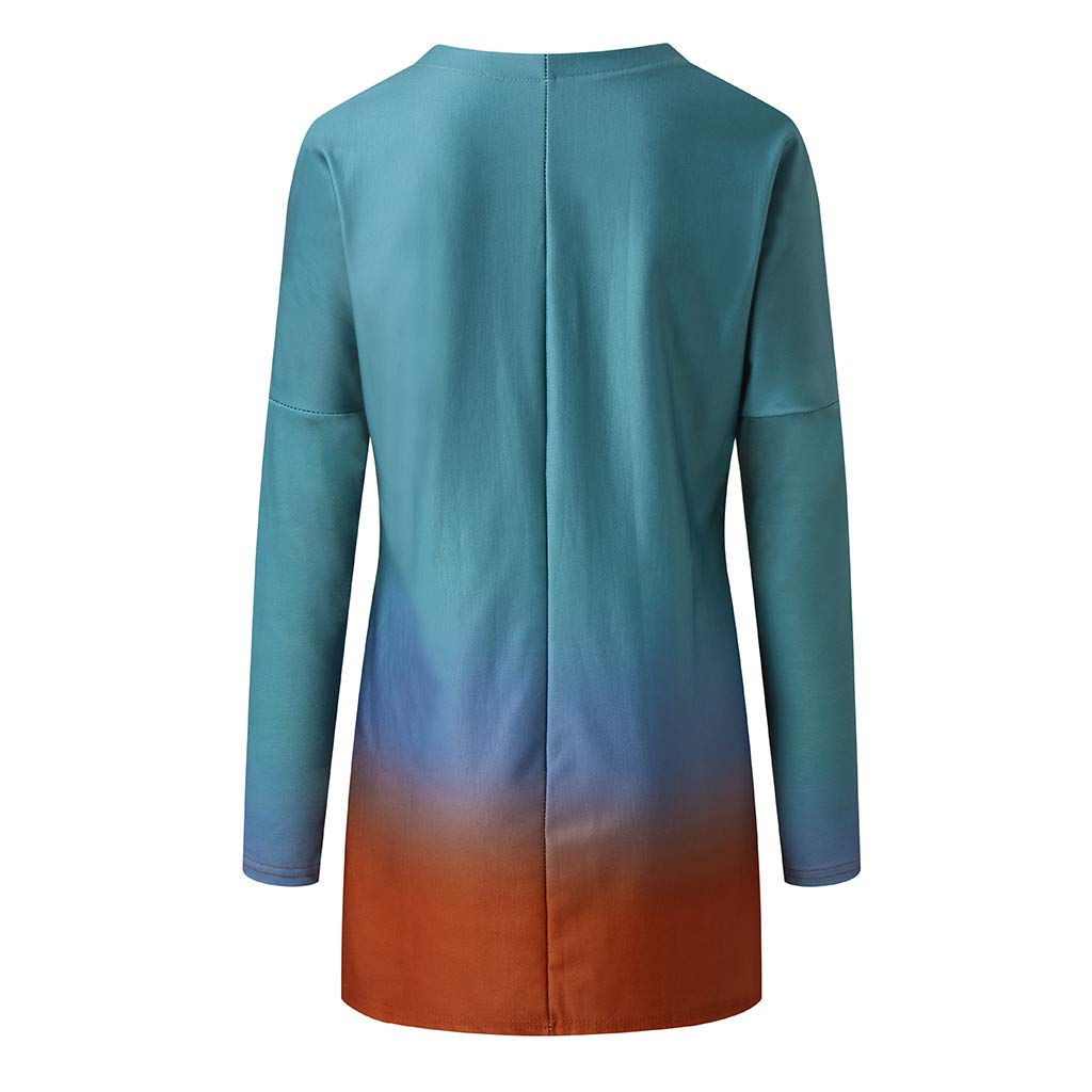 kaifongfu Womens Plus Size Tunic Blouse Tie Die Shirt Long Sleeve Loose Pullover Tops